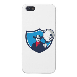 Cowboy Aiming Satellite Dish Crest Retro Case For iPhone 5/5S
