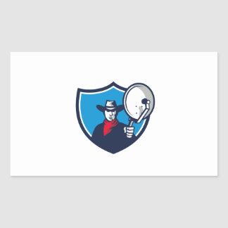 Cowboy Aiming Satellite Dish Crest Retro Rectangular Sticker