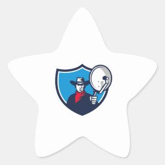 Cowboy Aiming Satellite Dish Crest Retro Star Sticker