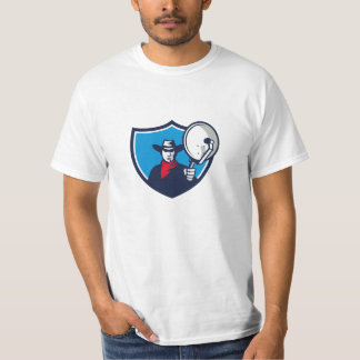 Cowboy Aiming Satellite Dish Crest Retro T-Shirt