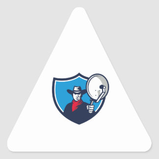 Cowboy Aiming Satellite Dish Crest Retro Triangle Sticker
