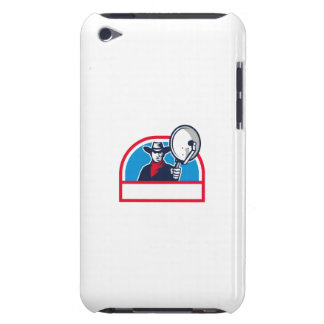 Cowboy Aiming Satellite Dish Half Circle Retro Barely There iPod Cases