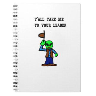Cowboy Alien Cartoon Spiral Note Books