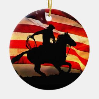 Cowboy and American Flag Christmas Ornamemt Ceramic Ornament