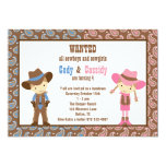 Cowboy and Cowgirl Birthday Invitations Personalized Invitation