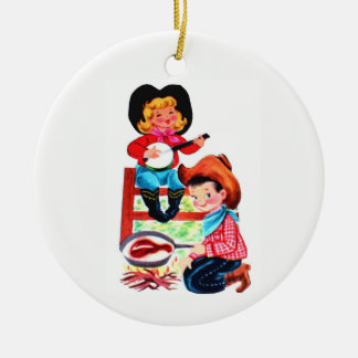 Cowboy and Cowgirl Ceramic Ornament