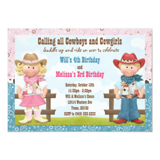 "Cowboy and Cowgirl Joint Sibling Birthday Party 5"" X 7"" Invitation Card"