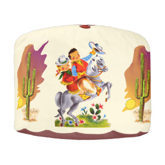 Cowboy and Cowgirl Kids Pouf