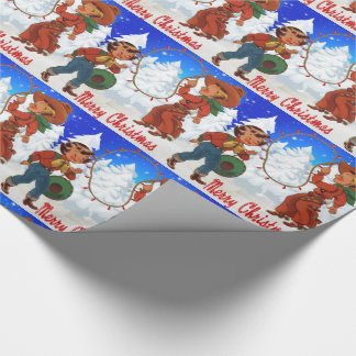 Cowboy And Cowgirl Kids Winter Merry Christma Wrapping Paper