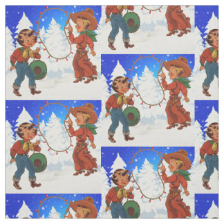 Cowboy And Cowgirl Kids Winter Scene Holiday Fabri Fabric