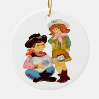 Cowboy and Cowgirl Singers Ceramic Ornament