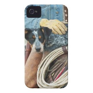 Cowboy and dog on horse iPhone 4 Case-Mate case