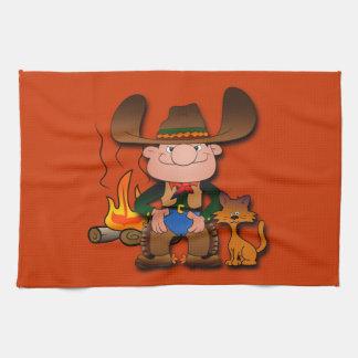 Cowboy and His Cat Tea Towel