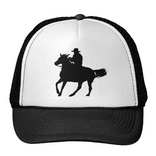 Cowboy and his horse trucker hats