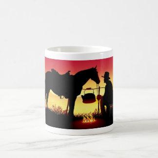 Cowboy and Horse at Sunset Basic White Mug