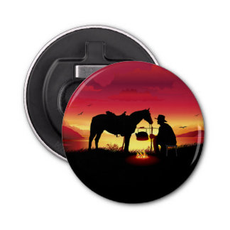 Cowboy and Horse at Sunset Bottle Opener