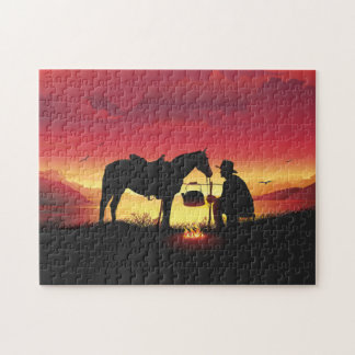 Cowboy and Horse at Sunset Puzzle
