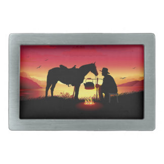 Cowboy and Horse at Sunset Rect Belt Buckle