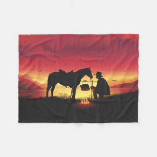 Cowboy and Horse at Sunset Small Fleece Blanket