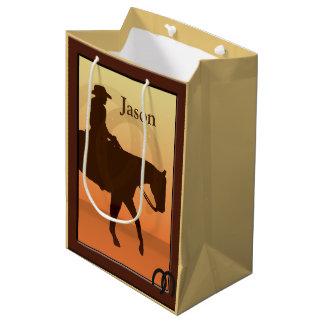 Cowboy and Horse Horseback Design MGB Medium Gift Bag