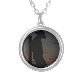 Cowboy at sunset round pendant necklace