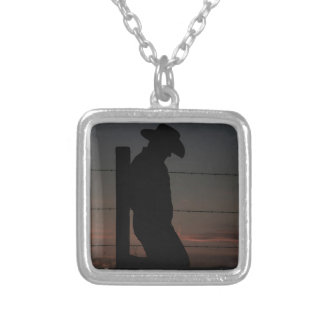 Cowboy at sunset square pendant necklace