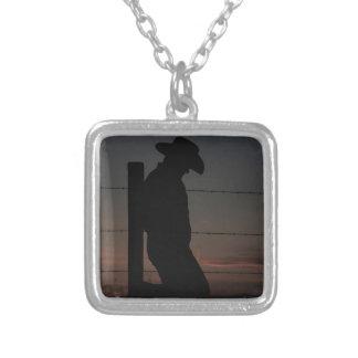 Cowboy at sunset square pendant necklace