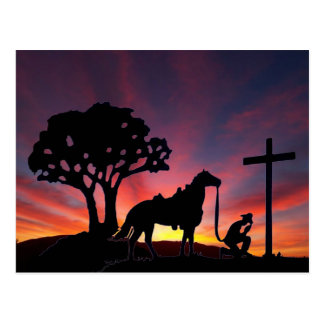 Cowboy at the Cross Easter Christian PostCard Art