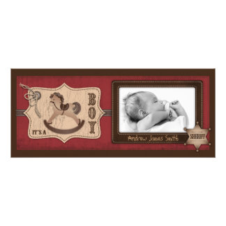 Cowboy Baby Tall Announcement Card