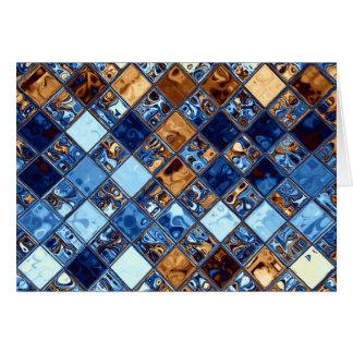 Cowboy Bandanna Blue Mosaic Pattern Original Art Card