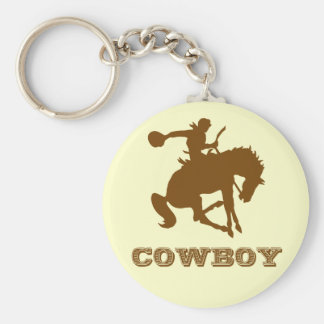 Cowboy Basic Round Button Key Ring
