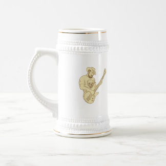 Cowboy Bass Guitar Isolated Drawing Beer Stein
