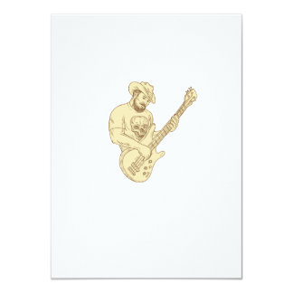 Cowboy Bass Guitar Isolated Drawing Card
