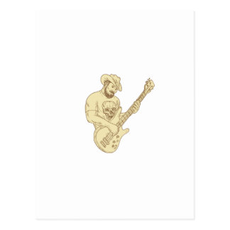 Cowboy Bass Guitar Isolated Drawing Postcard