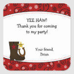 Cowboy Birthday Party Favour Sticker Red Paisley