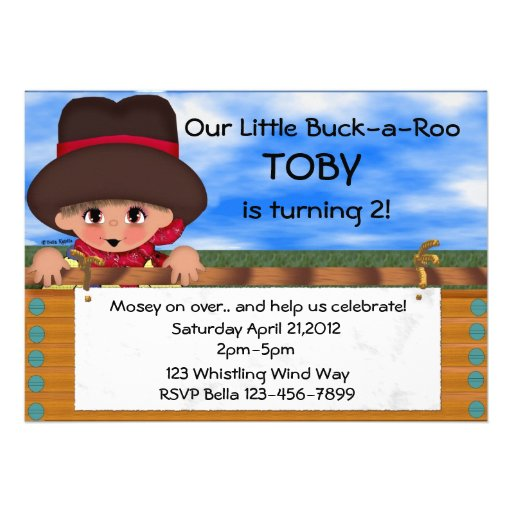 Cowboy Birthday Party Custom Invites