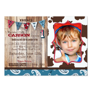 Cowboy Blue Bandanna Western Theme Birthday 13 Cm X 18 Cm Invitation Card