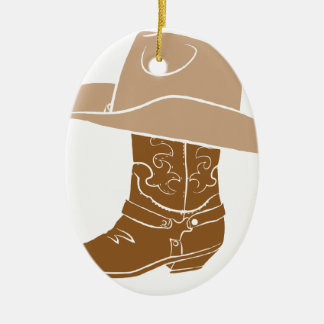 Cowboy Boot And Hat Ceramic Ornament