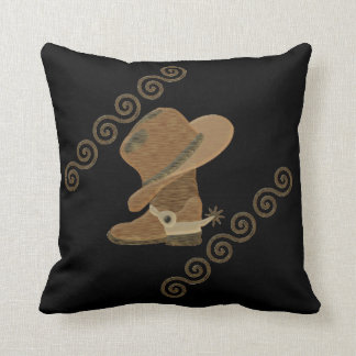 Cowboy Boot and Hat Off Wooden Inlay Cushion