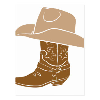 Cowboy Boot And Hat Postcard