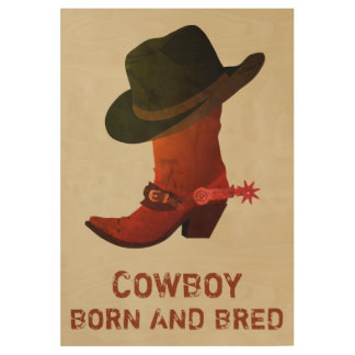 Cowboy Boot and Hat Wood Poster