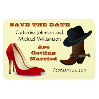 Cowboy Boot and High Heels Wedding Save The Date 1 Vinyl Magnet