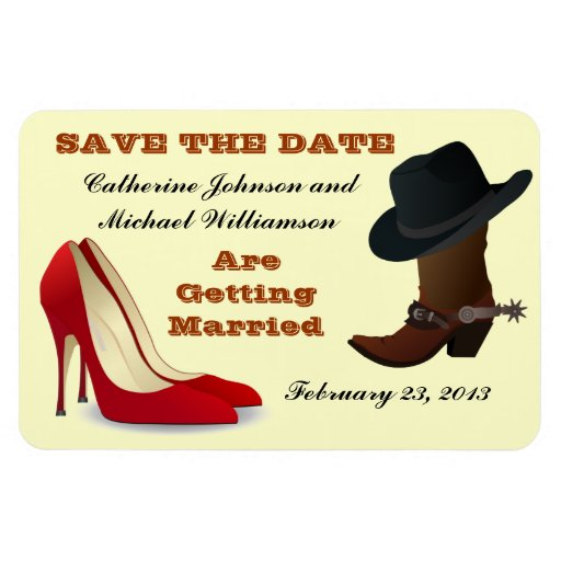 Cowboy Boot High Heels Wedding Save The Date 2 Flexible Magnets