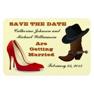 Cowboy Boot High Heels Wedding Save The Date 2 Rectangular Photo Magnet