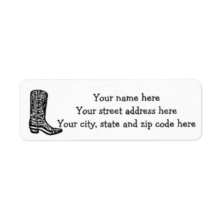 Cowboy boot return address label