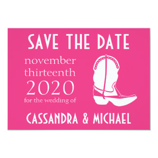 Cowboy Boot Save The Date Announcement (Dark Pink)