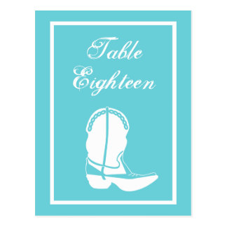 Cowboy Boot Table Numbers (Teal / White) Postcard