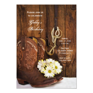Cowboy Boots and Daisies Country Birthday Party 13 Cm X 18 Cm Invitation Card