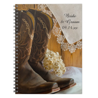 Cowboy Boots and Lace Country Barn Wedding Notebook