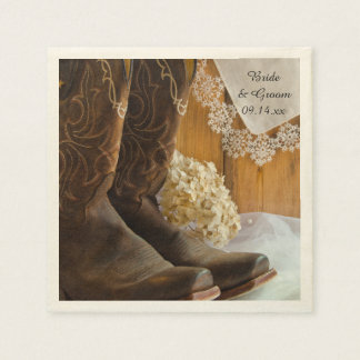 Cowboy Boots and Lace Country Wedding Disposable Napkin